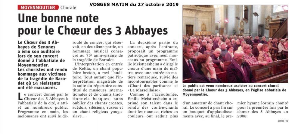 Le Choeur des 3 Abbayes à Moyenmoutier